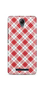 Casenation Red Checks Pattern Xiaomi Redmi Note 2 Glossy Case