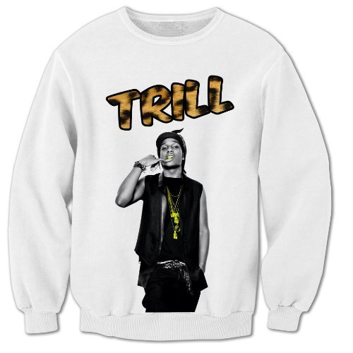 Bang Tidy Clothing Unisex-Adult Asap Rocky Inspired Trill Leopard Print Hip Hop Music Sweatshirt Small White