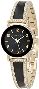 Anne Klein Women's AK/1028BKGB Swarovski Crystal-Accented Watch
