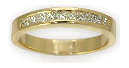 0.5 Cttw 14K Yellow Gold Princess Cut Diamond Wedding Band Channel Setting (Sizes 5-12)