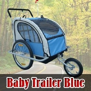 Frugah NEW 2in1 Double Baby Bike Bicycle Trailer Stroller Blue with Hand Brake System