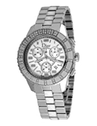 Christian Dior Unisex CD114311M001 Christal Chronograph Diamond White Dial Watch