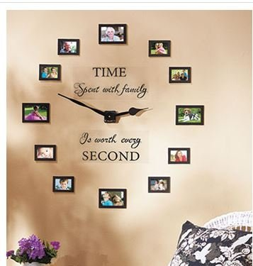"Sentiment Photo Wall Clock , Decal and Picture Frames Kit ""Time Spent with Family Is Worth Every Second"""