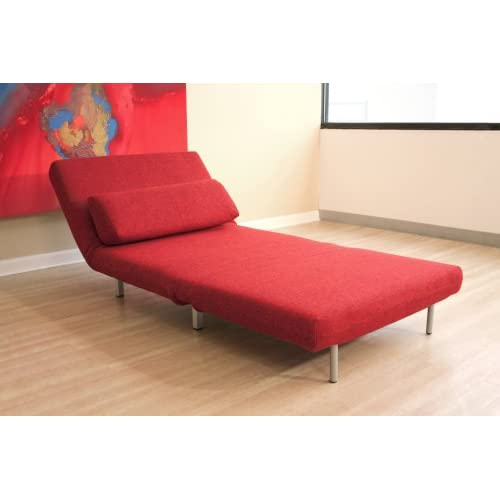 Baxton Studios Romano Convertible Sofa Chair Bed, Red  Contemporary ...