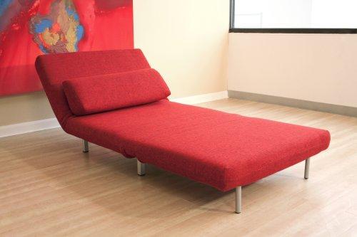Baxton Studios Romano Convertible Sofa Chair Bed, Red ...