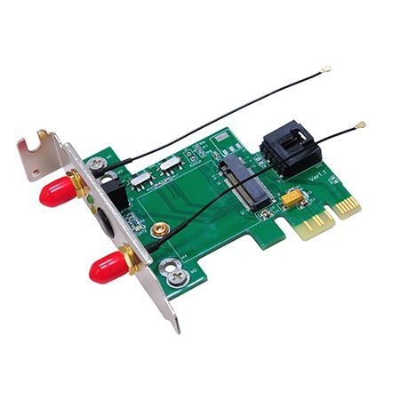 Bplus M2P2H M.2(Ngff) Wireless Card To Pcie Adapter, Convert Half-Size Mini Card To Usb 5Pin / Standard Pci-Express1X Slot