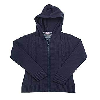 French Toast School Uniforms Hooded Cable Front Cardigan Girls navy 6x