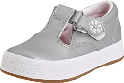 Keds Daphne T-Strap Sneaker (Toddler/Little Kid),Silver,7.5 W US Toddler