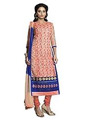 Prafful Peach Chanderi Cotton Embroidered Unstitched Dress Material - B015HBJQNS