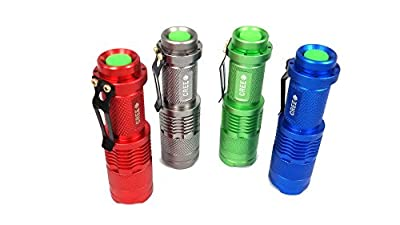Goldengulf 3 Mode Focus Adjustable Cree Led High Power Super Bright Portable Handheld Flashlight Tactical Torch Lamp For Riding Camping Hiking Hunting, 4pcs/pack-Red/Blue/Siliver/Green by goldengulf