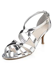 Wide Fit Stiletto Mid Heel Crossover Sandals