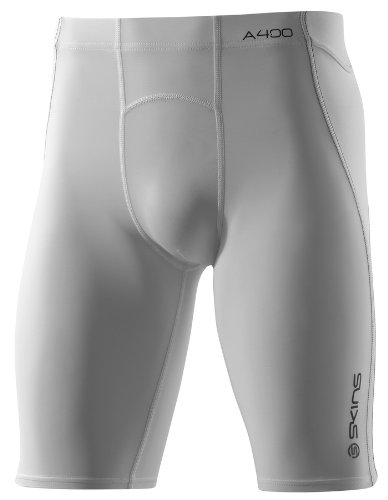 Skins A400 Men's Compression Half Tights-White-XS