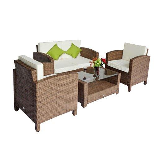 Outsunny Polyrattan Gartenmöbel 14 tlg. Rattan Gartenset Lounge Sitzgruppe Sofa Set inklusive Kissen, Schutzhülle optional erhältlich (14 tlg. Rattan Gartenset)
