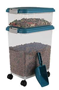 Iris Airtight Dog Food Container Combo Kit, Blue Moon and Gray