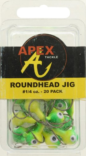 Apex Jig Heads (Pack of 20), 1/4-Ounce, Chartreuse/Green