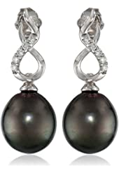 10k White Gold Tahitian Cultured Pearl and Diamond (0.1cttw, G-H Color, I2-I3 Clarity) Pin Earrings