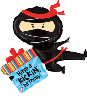 "BALLOON new 38"" NINJA foil Kickin' BIRTHDAY party FAVORS"
