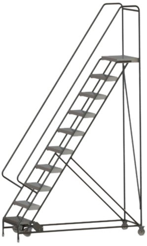 Tri-Arc WLAR110244 10-Step All-Welded Aluminum Rolling Industrial & Warehouse Ladder with Handrail, Ribbed Tread