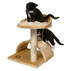 BUNNY BUSINESS Cat Bed and Scratching Post with Hanging Ball Vitoria Cat Tree, Beige