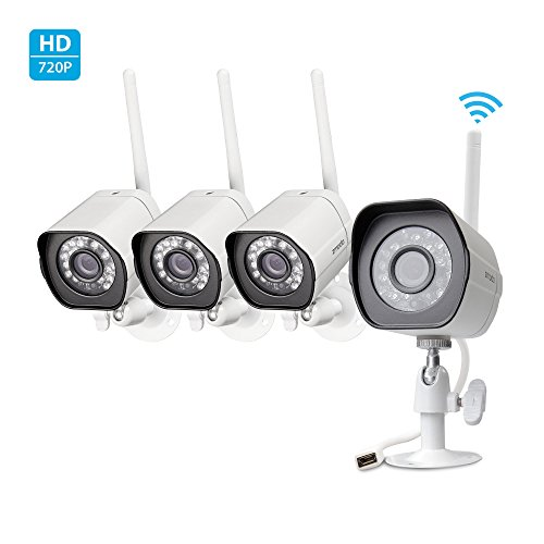 Read About Zmodo Smart Wireless Security Cameras- 4 Pack- HD Indoor/Outdoor WiFi IP Cameras with Nig...
