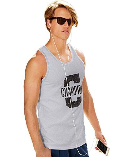 Champion Men's Jersey Ringer Tank, Oxford Gray, X-Large