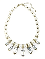 M&S Collection Pearl Effect & Diamanté Statement Necklace