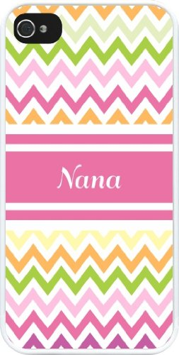 """Rikki Knighttm """"Nana"""" Pink Chevron Name Design Iphone 4 & 4S Case Cover (White Rubber With Bumper Protection) For Apple Iphone 4 & 4S front-616180"""