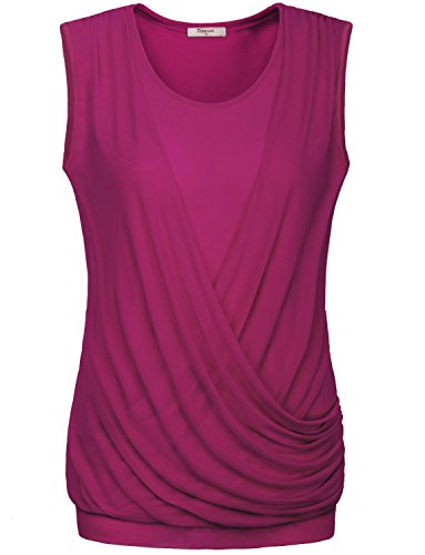 Cute Tops for Women,Timeson Womens Sleeveless Scoop Neck Stretchy Jersey Draped Surplice Tunic Blouse Tank Shirts Tops X-Large Rose