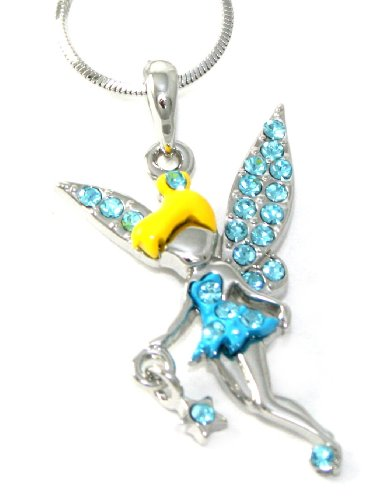 Beautiful Blue Crystal & Enamel Dress Fairy with Star Charm Necklace Silver Tone