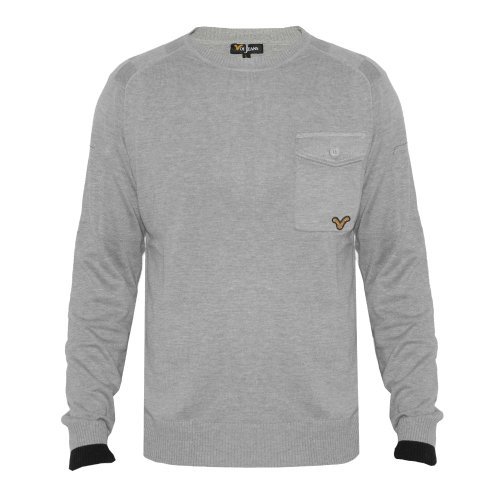Voi Jeans Mens Grey Marl Deck Jumper Grey Small