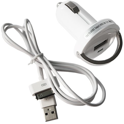 High Quality Car Charger + Data Sync Cable For iPhone 4, 3GS, 3G, 2G, iPod nano, iPod touch