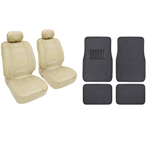 Best Price Beige Classic Pu Leather Bucket Seat Covers & Charcoal 4Pc Carpet Mats By Bdk front-68719