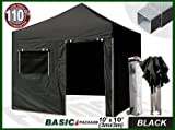 Eurmax Basic 3x3 Pop Up Gazebo Heavy Duty Quick Outdoor Marquee Folding Tent With Side Panels And Wheeled Carry Bag, Bonus Awning (Black)