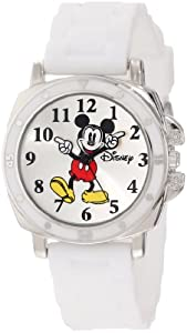 """Disney Kids' MK1103 """"Mickey Mouse"""" Watch With White Rubber Band"""
