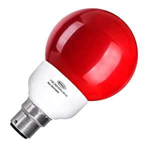11w Energy Saving Bc Globe Cfl Red Coloured Fireglow Bulb Lighting