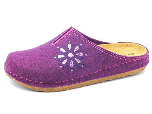 Pantofole InBlu per donna in tessuto prugna sottopiede in pelle (Taglia 38)