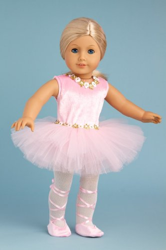 Prima Ballerina - 3 piece ballerina outfit includes pink leotard with tutu, white tights and ballet shoes - 18 Inch Doll Clothes