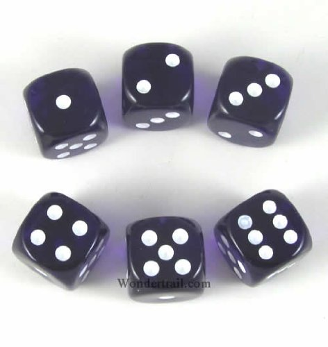 Purp Translucent with White Pips 16mm D6 Dice Set of 6 Packaged in Tubes or Blister Wondertrail WCX23607E6 - 1