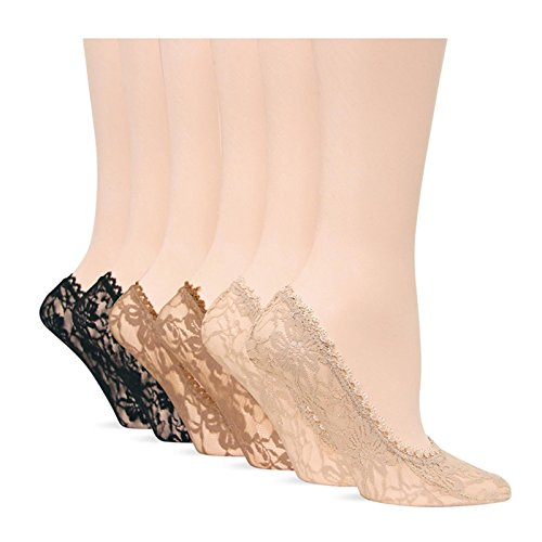 Hot Sox Originals All Over Lace Footliner 6 Pack,Assorted,Medium (Hot Sox Lace compare prices)