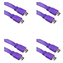 4 Pack 1.5M - 150 cm - 4.5 Foot Super FLAT HDMI Male to HDMI Male Cable TV Lead 1.4V High Speed Ethernet 3D Full HD 1080p - Support All HDMI Devices Purple