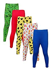 Little Stars Girls' Cotton Regular Fit Leggings- Pack of 5 (Po5L_110_26, Multi-Colour, 5-6 Years)