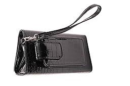 Eye Pockit Multi-Purpose Clutch, Glasses Case, RFID Wallet, Phone case combo - Black Croc