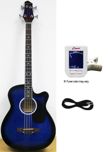 Crescent AEB-BU Acoustic Electric Bass Guitar Kit, Blue Color (Built-in Equalizer and Crescent Digital E-Tuner Included)