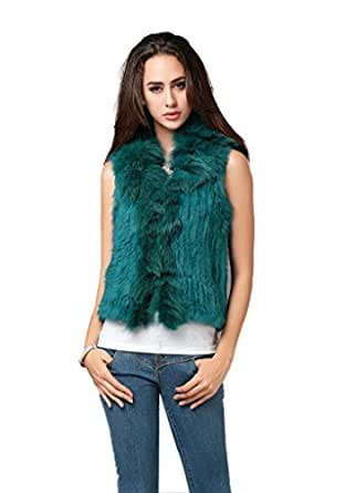 Ferrand-Women's Real Rabbit Knitted Fur Vest Gilet Fox Fur Collar-Blue