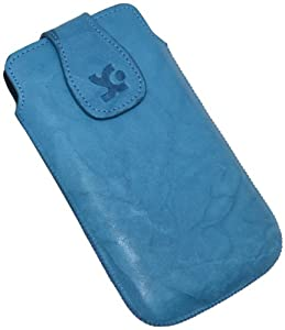 Original Suncase Echt Ledertasche (Magnetverschluss) für HTC One X in wash-blau