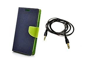 Kerbs Combo Pack fancy flip diary case/cover for mercury for lenovo K4 Note bluegreen and pitch dark auxiliary cable.
