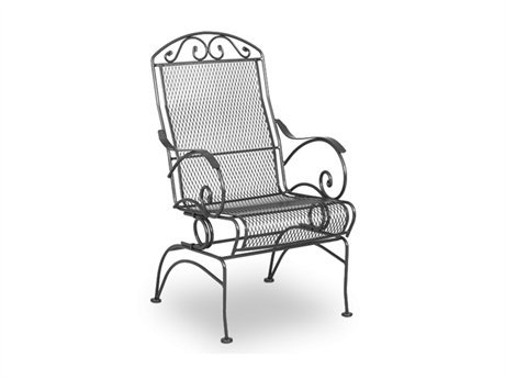 Meadowcraft Bordeaux Wrought Iron Metal Arm Spring Patio Dining Chair