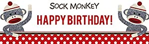 "Sock Monkey Red Birthday Banner Standard (18"" x 61"") at 'Sock Monkeys'"