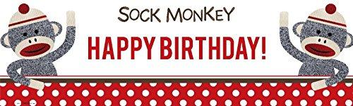 "Sock Monkey Red Birthday Banner Standard (18"" x 61"") at 'Sock Monkeys'"