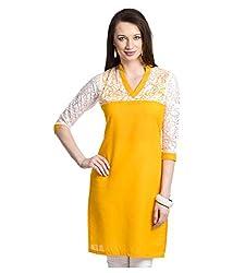 Shubh Women's Cotton Kurti (Shubh_172_Yellow_Free Size)